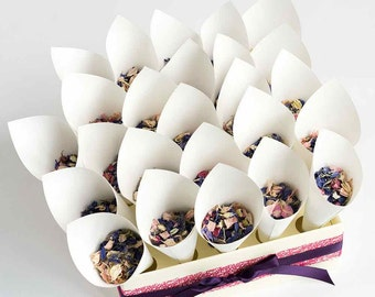 Confetti Cones with Delphinium Petals | Confetti Cones with Tray | Purple Flower Confetti | Pink Flower Confetti | Bio-degradable Petals