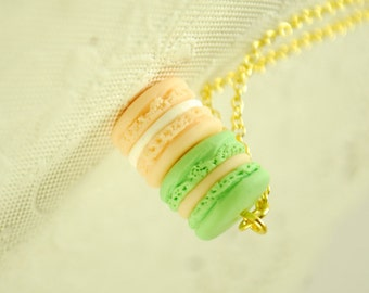 macaron necklace - macaroon necklace -  food jewelry
