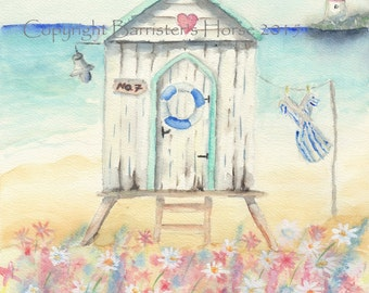 Beach Hut, Giclee Watercolour Painting Print A4. Archival quality inks
