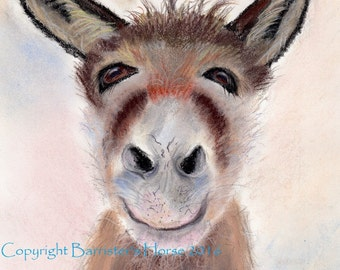 Donkey Selfie, equestrian fine art, Giclee Pastel Art Print A4. Archival quality inks