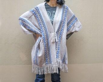 Sandy Poncho Vintage – Fringe Poncho Lambswool Angora Nylon - Winter Wrap Blanket Poncho - Shawl Indian Style -  Fringe Pullover
