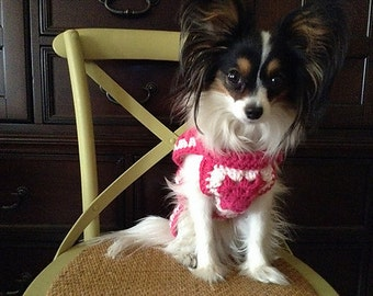 Hand Crocheted Doggie Sweater Pink Small