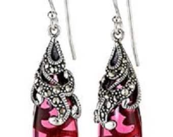 Red Stone Sterling Silver Teardrop Earrings