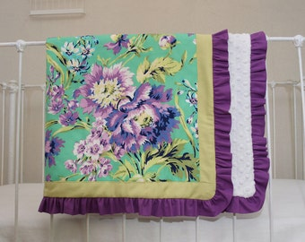 Floral Emerald, Purple, and Green Designer Baby Blanket made with Love Bliss Bouquet Fabric