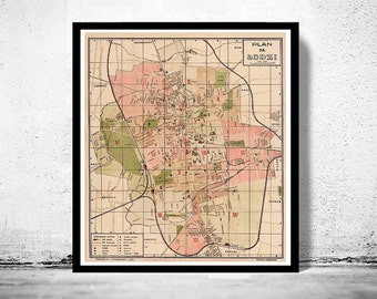 Old Map of Lodz Poland 1927