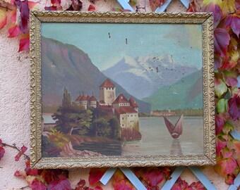 French old artist Original Oil Painting Henri-Alain Lesprit Castle boat river lake mountain landscape Paris France ornate gold wooden frame