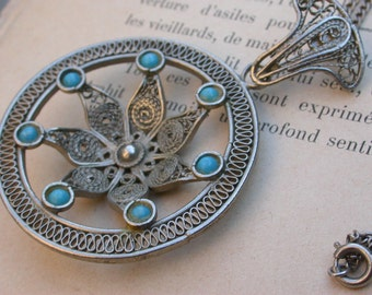Large necklace wonderful filigree hand made silver necklace pendant ornate flower solid bronze based ethnic jewelry pendant