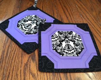 Pair of Ghostly Lavender Potholders