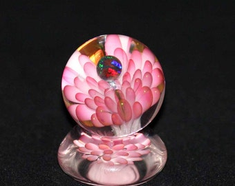 Flameworked Glass Sea Floral Marble with Opal Sphere and Matching Stand