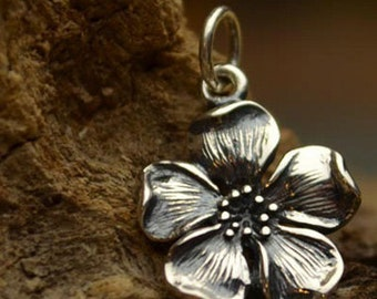Sterling Silver Cherry Blossom Charm - Flowers-Nature