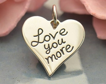 Sterling Silver Love You More Heart Charm-Te Amo Mas