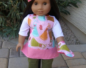 Chef Hat, Apron, & Oven Mitt for American Girl Doll or 18 inch Doll