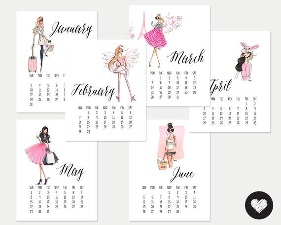 Fashion Illustration Calendar : Items similar to printable fashion girls calendar