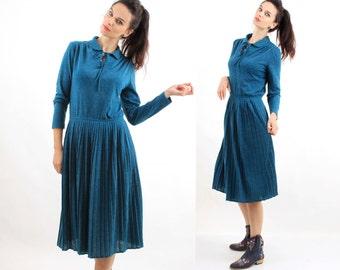 Vinta Blue Dress / Autumn Dress / Simple Dress / Pleated Dress / Midi Dress / Casual Dress / Size M