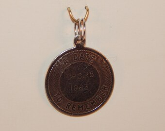Vintage Sterling Silver 925 Round Date to Remember December Dec 25 1963 Engraved Christmas 63 Charm Pendant