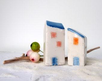 Ceramic Miniature Houses Set of 2, miniature clay tiny house fairy house, pottery house,miniatures, housewarming, small building