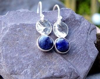 silver earrings, silver dangle earrings, silver dangle sodalite earrings