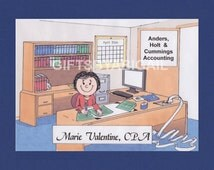 ACCOUNTANT Personalized Cartoon Pic Person Picture People Gift - Custom Matted Print 8x10 or 9x12, Keychain or Magnet