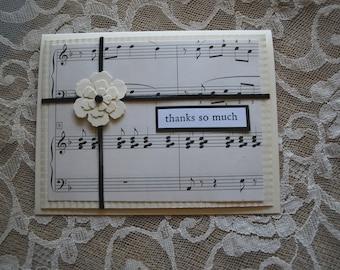 Handmade Greeting Card:  Thank You, Vintage Sheet Music