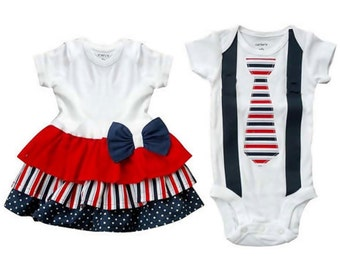 Boy Girl Twin Brother Sister Matching Ruffled Onesie Set -Patriotic Colors[RDTOPC]