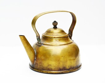 Antique Brass Tea Kettle Tea Pot Antique Brass Kitchen Decor Bohemian Brass Tea Kettle Antique