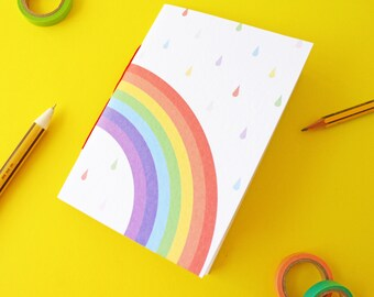 Small A6 Rainbow Handmade Notebook with blank pages