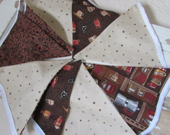 """Coffee Fabric Bunting Swag - 9 Flags - 105"""" Length Browns Reds"""