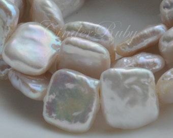 """12-13 mm Square Freshwater Pearls,White Square Nucleated Baroque Pearls, Full Strand 14.5"""""""