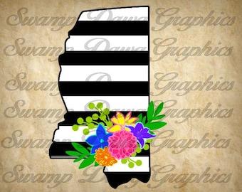 Mississippi Svg, Mississippi Stripped svg, mississippi floral swag, svg, digital file, silhouette, cricut, mississippi silhouette,floral svg
