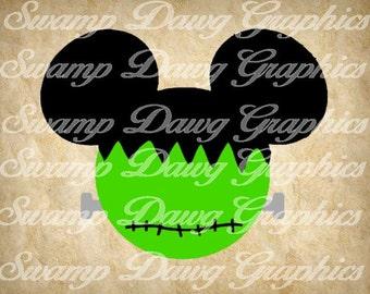 Frankenstein mickey svg, halloween svg, halloween mickey svg, silhouette, cricut, decal, vinyl, frankenstein cut file, mickey cut file, svg