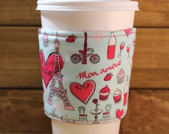 Fabric Coffee Cozy / Paris Coffee Cozy / Coffee Cozy / Tea Cozy