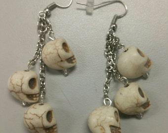 White Skulls Earrings