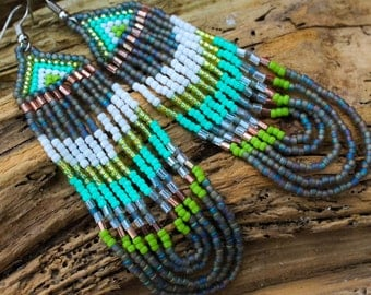 "4""Native Indian Style Seed Bead Earring~Native American Inspired Bead Pattern~Long Dangle BOHO Chic~Bohemian Inspired~Grey Turquoise Green"