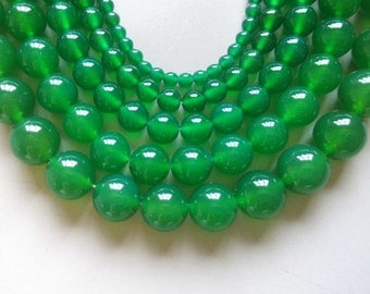 Full Strand 15inches Green Agate Round Beads - A504