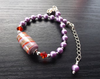 Lilac and Red Indian Lampwork Bracelet
