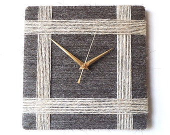 Herdwick Wool Wall Clock Charcoal Grey & Light Grey - 100% British Wool Yarn Unusual Quartz Wall Clock