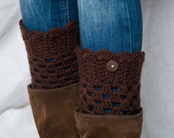 Boot cuffs BROWN/ Crochet boot toppers with buttons/ handmade leg warmers/ tall boot socks women teen girls accessories gift idea