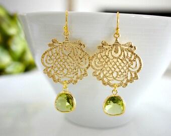 Apple Green Glass Gold Filigree Chandelier Earrings. Green Gold Lace Moroccan Earrings. Green Gold Wedding. Gold Scroll Filigree Earrings