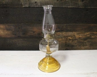 Vintage Eagle Oil Lamp with Yellow Base, Large Glass Ribbed Eagle Lamp