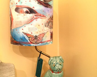 Pug Lamp with handpainted shade