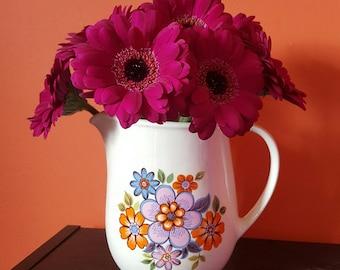 Vintage 70's small ceramic floral jug