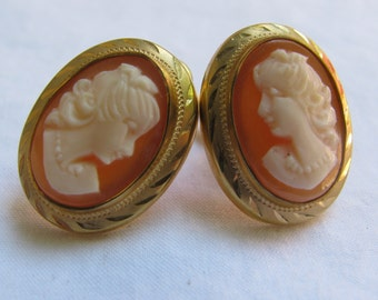1950's Curtis Creations 12K Gold Filled Cameo Earrings, Screw Backs, UNCAS, Mid Century