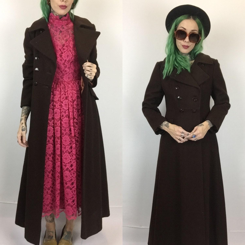 60's Wool Peacoat Chocolate Brown Tailored Coat Small Women - Dark ...