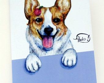 Sale - Corgi Notebook / hand painted design / illustration