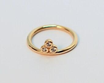 3 Bezel Engagement Gold Ring