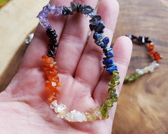 Chakra stretchy bracelet ~ 1 Reiki infused gemstone chip bead bracelet approx 7 inches