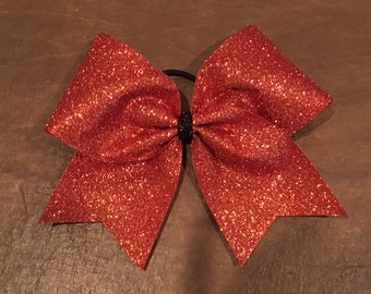 Cheer Bow - Orange Glitter