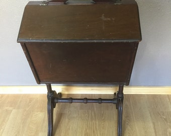 1940's Rustic Wood Floor Standing Sewing Box - Vintage, Worn, Rustic