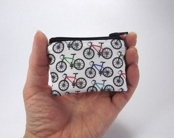 bike bag, cycling pouch, tiny coin purse, mountain bike, small zipper pouch, bicycle accessory, zipper pouch, lunch money