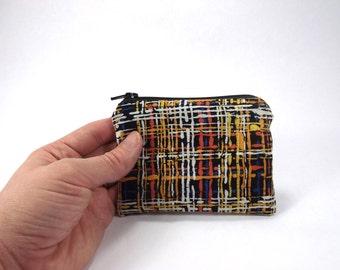 black white orange plaid zipper pouch, autumn plaid card wallet, halloween bag, thatch change purse, tweed look coin pouch